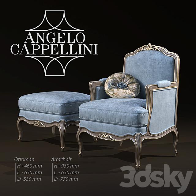 3d Models Arm Chair Angelo Cappellini Armchair Ottoman