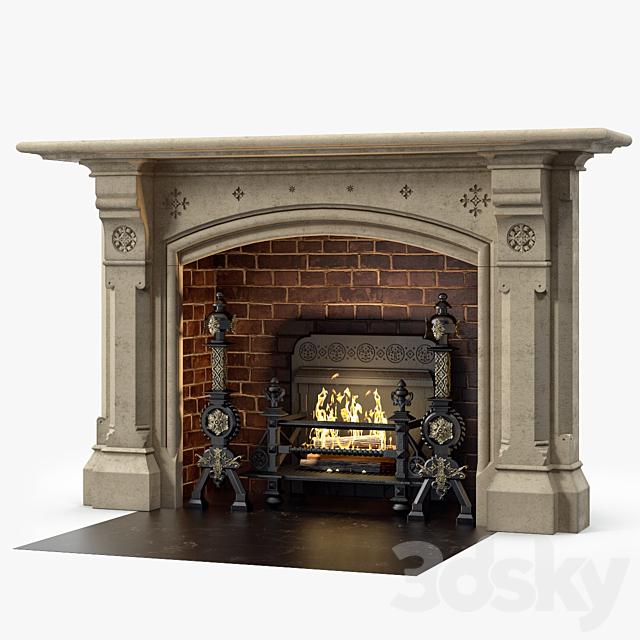 Westland London A Large Yorkstone Gothic Style Antique Fireplace Stock No 14223