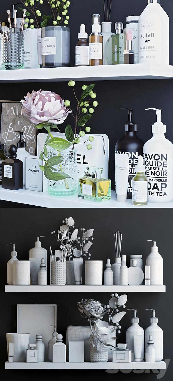 Shelves with cosmetics and bathroom decor - 1