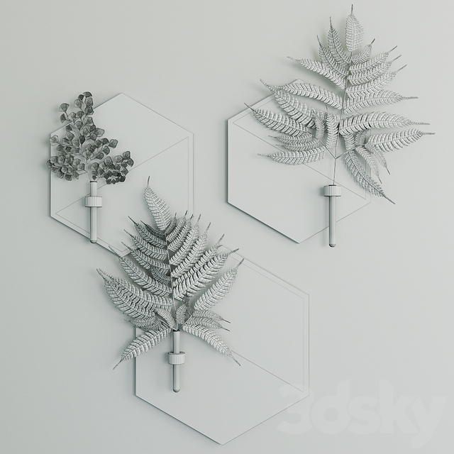 Hexagon plant hanger with fern sprigs by WoodaHome