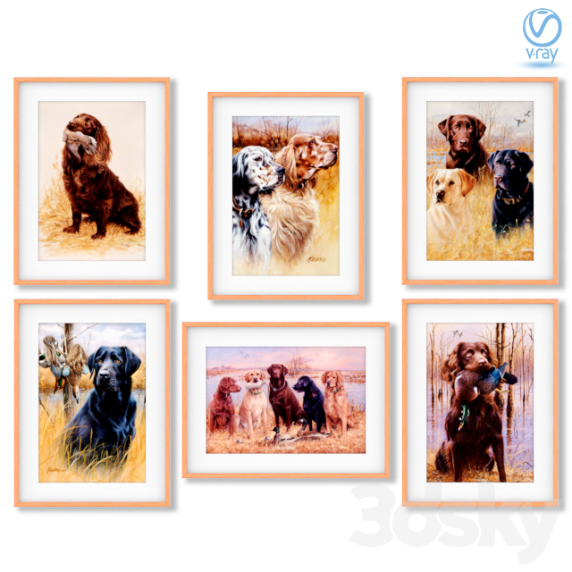 A collection of posters about hunting dogs from the artist Jim Killen.