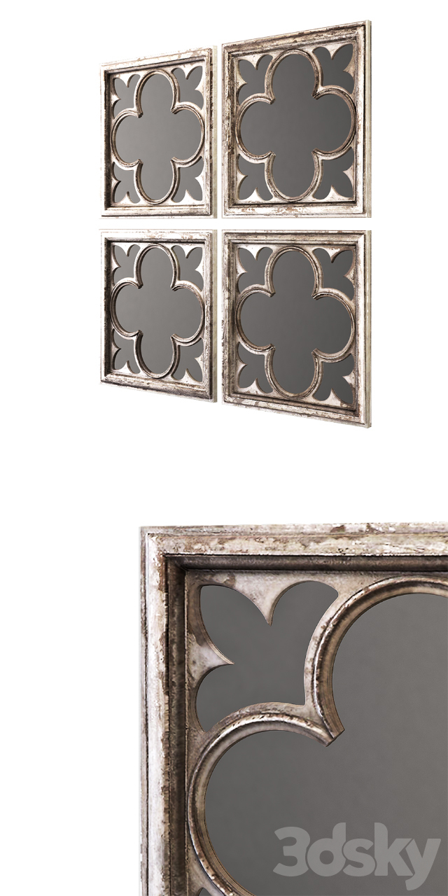 Uttermost vellauni aged white and weathered wood quatrefoil mirrors