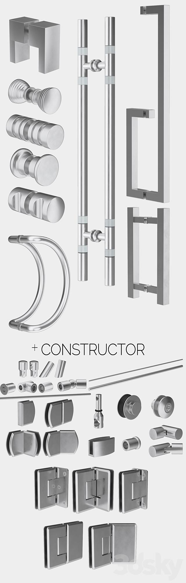 Glass shower cabins, designer and a set of handles