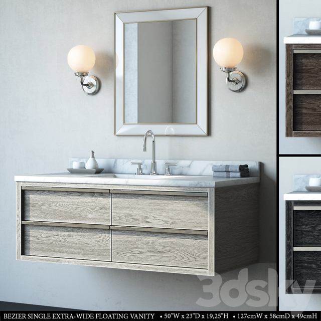 BEZIER SINGLE EXTRA-WIDE FLOATING VANITY