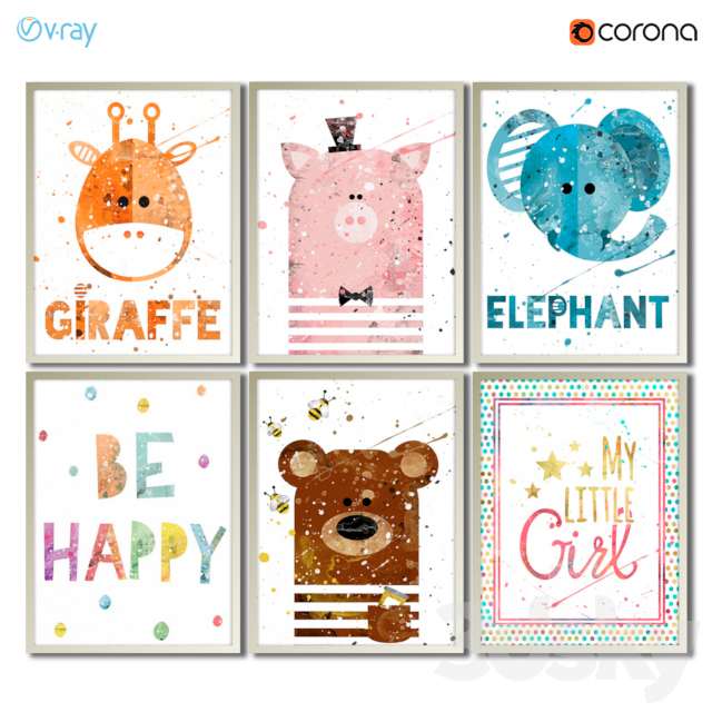 Collection of posters for the decoration of the children's room of the girl.