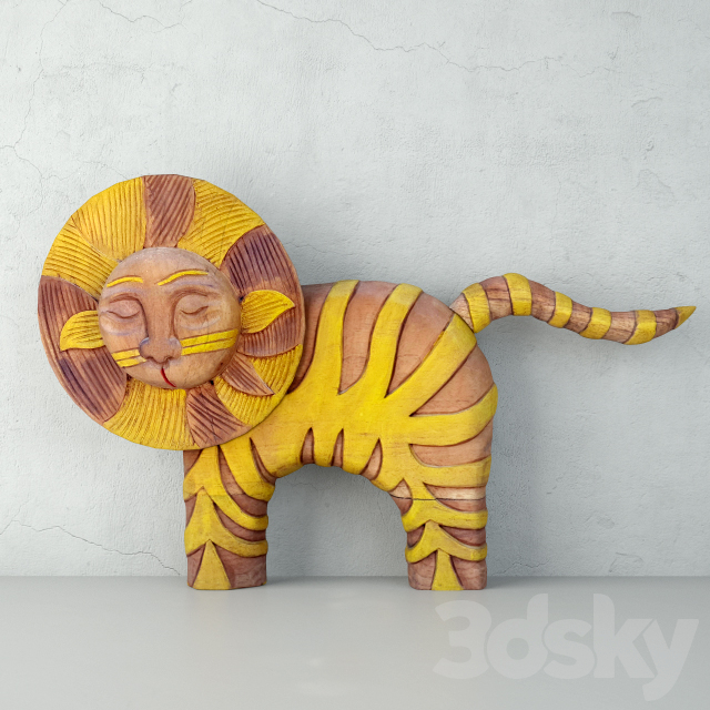 Hand Carved Wood Decorative Lion Statue