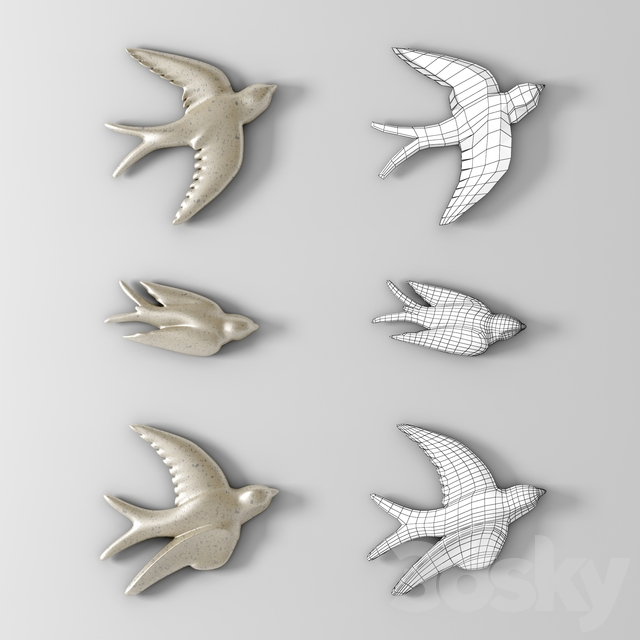Decor Flying Birds In The Flower Pewter