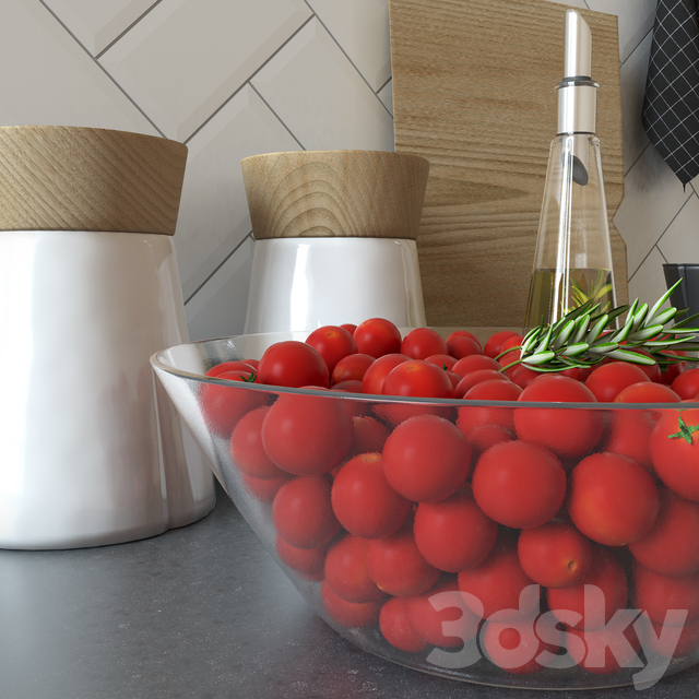 Set for kitchen with cherry tomatoes
