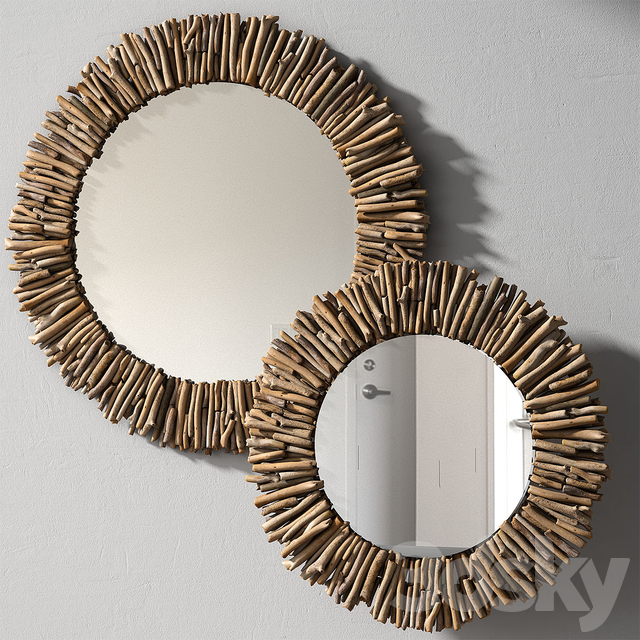 Pottery Barn Natural Driftwood Mirror, Driftwood Mirror Round