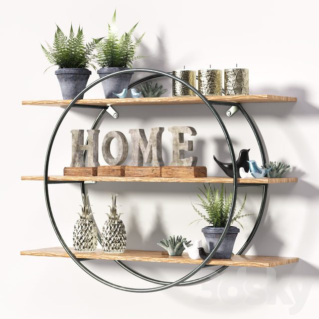 Round metal frame shelf with Decor set