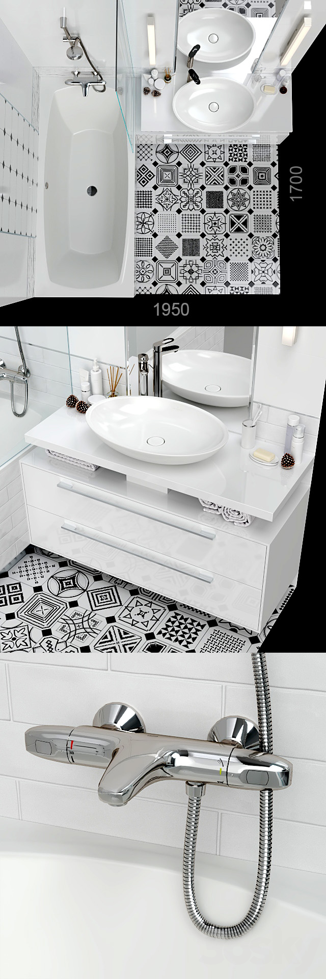 Furniture and decor for a small bathroom.