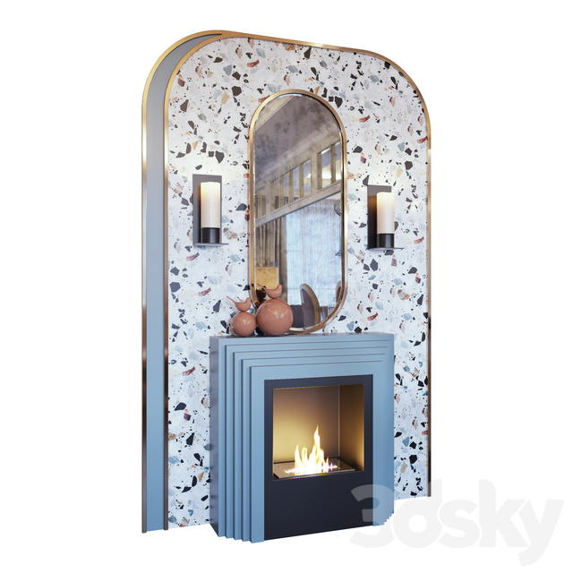 Fireplace, sconce, decor, mirror and murals terrazzo murals (Fireplace sconce mirror and decor memphis 01 YOU)