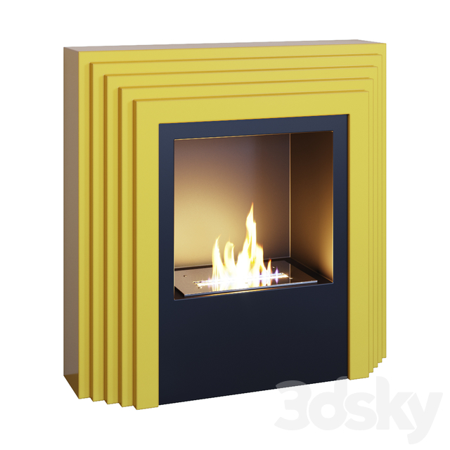 Fireplace yellow, sconce, decor, mirror and pop art panels (Fireplace sconce mirror and decor pop art Yellow 01 YOU)