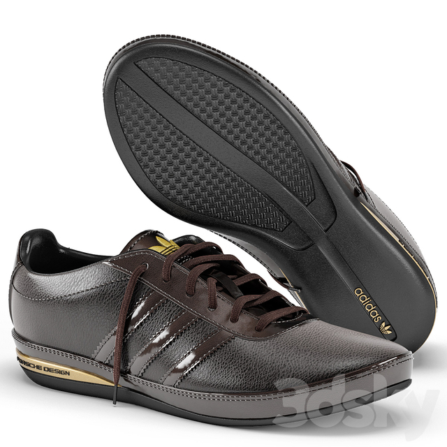 En lo que respecta a las personas planes limpiar  3d models: Footwear - Adidas Porsche Design S3 Leather Brown