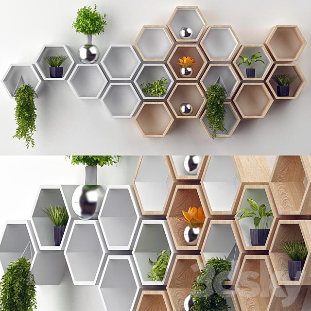 Rustic White Hexagon Wall Shelf in Solid Oak