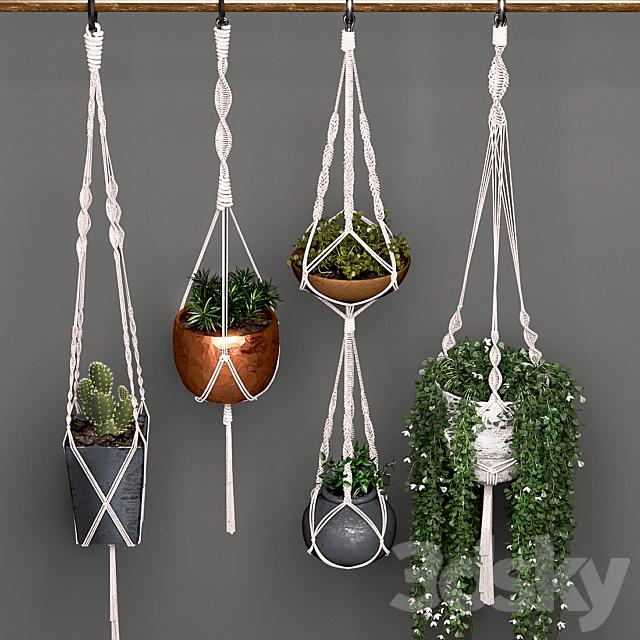 Decorative set of hanging pots