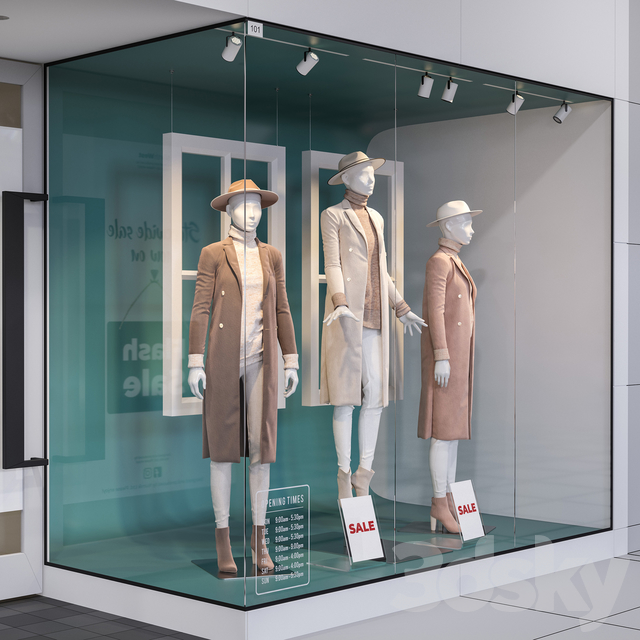 Shop front with female mannequins