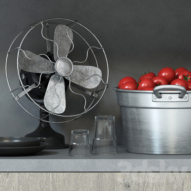 Decorative set for the kitchen in the industrial style