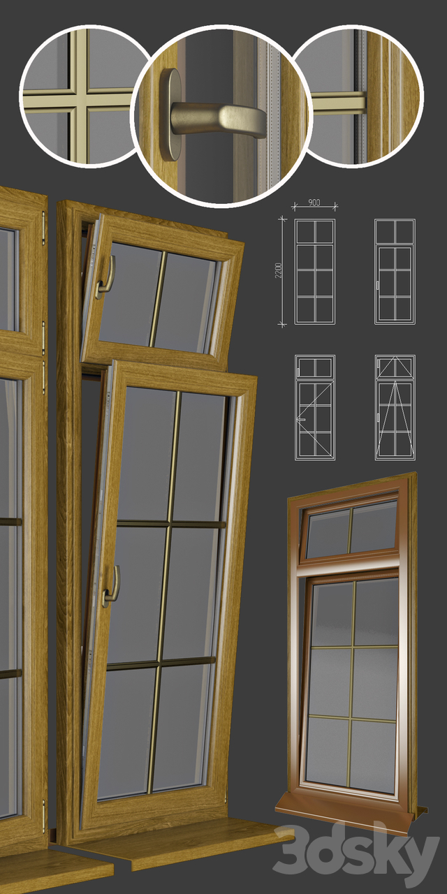 Wood - aluminum windows, view 04 part 01 set 04