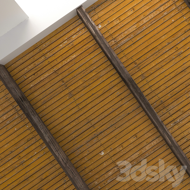 Wooden ceiling with beams 05
