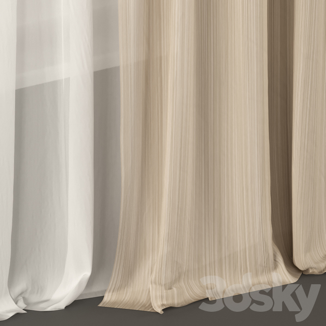 Curtains in white and beige tulle.