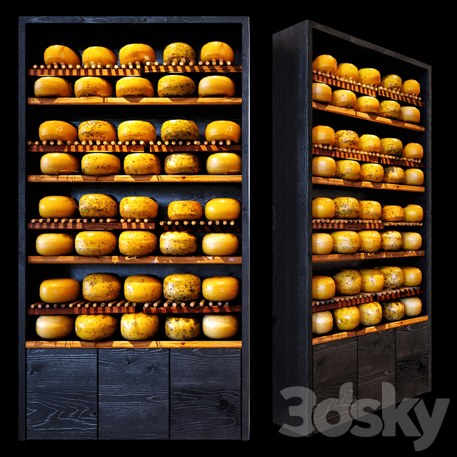 Shelves with cheese