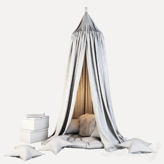 Children's canopy and decor in gray-blue tones