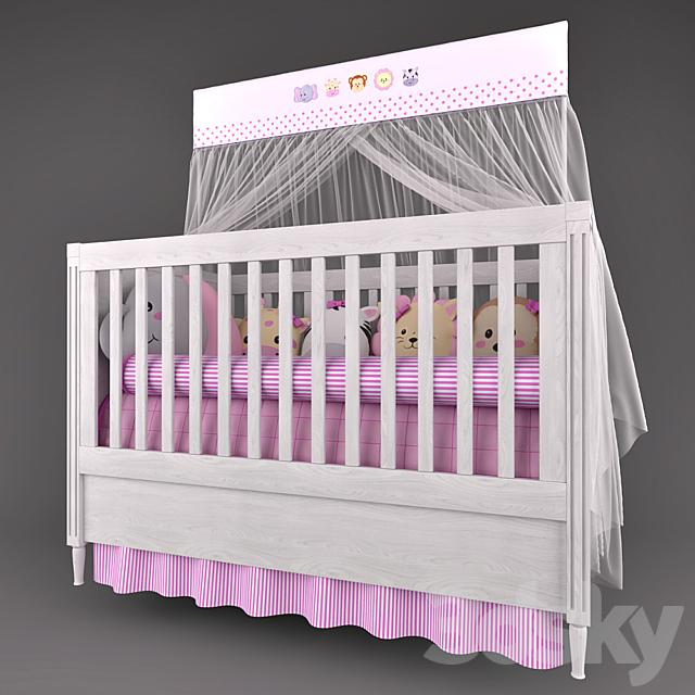 Cot Mon Tresor and underwear in the crib Friends Safari Rosa