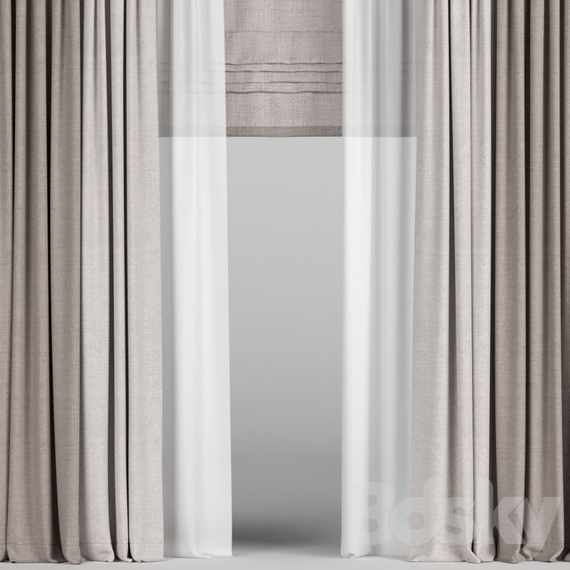 Brown curtains in two colors with tulle and roman.