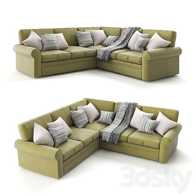 "Corner sofa ""Auguste Corner"" velor green, from the factory ""Century Furniture""."