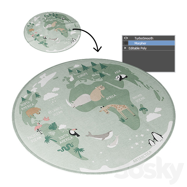 Round Rug H & M Home (Green World Map)