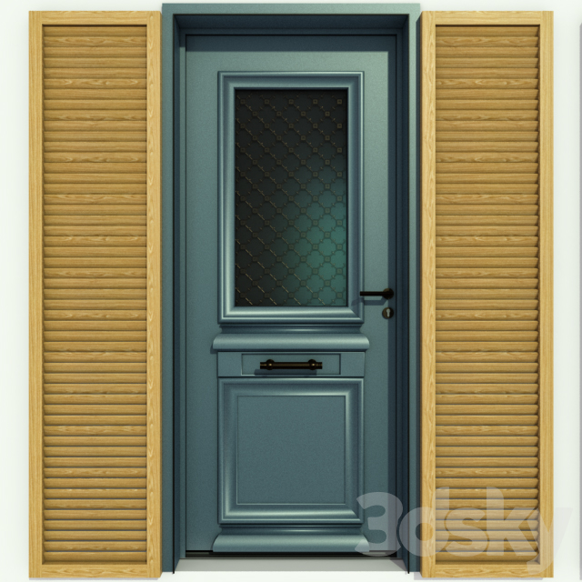 Metal front door with glass without glass