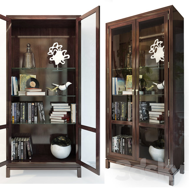 Cabinet / Showcase Jason Glass Door Cabinet .Hickory White
