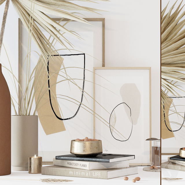 Decorative set with dryed palm