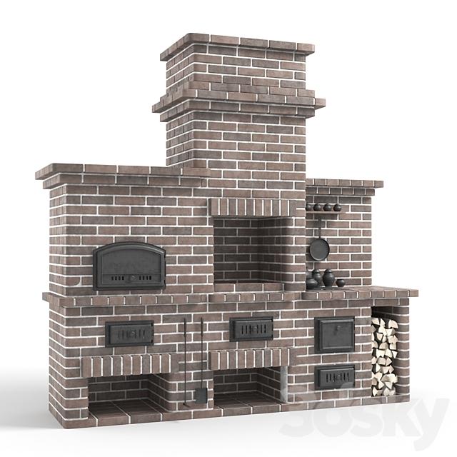 Barbecue stove made of bricks