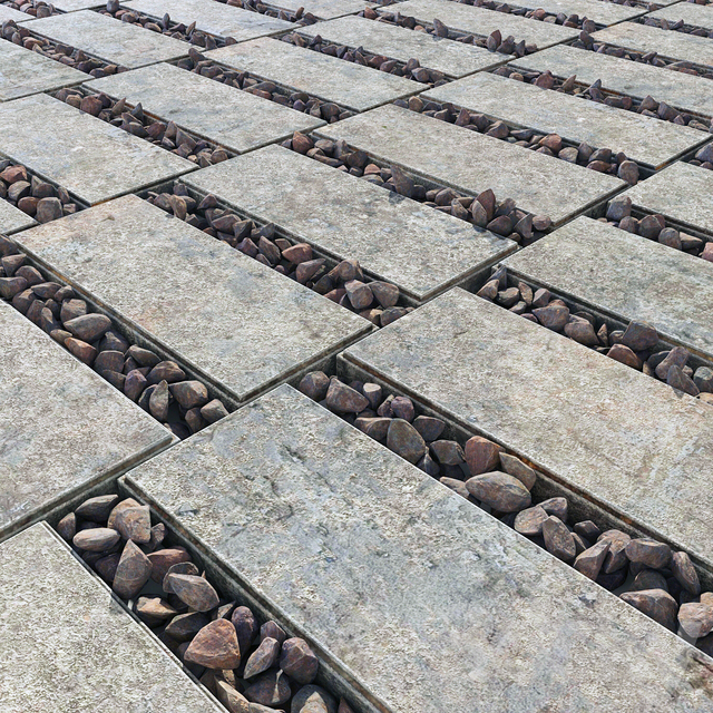 Paving title gravel / Paving slabs with gravel