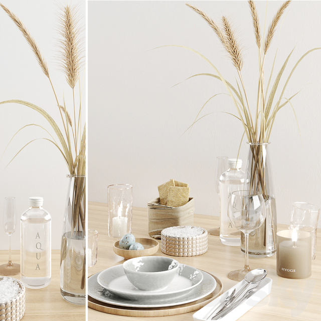 Hygge tableware with dryed grass
