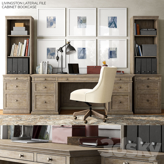 Pottery Barn Livingston Lateral File, Pottery Barn Office Furniture