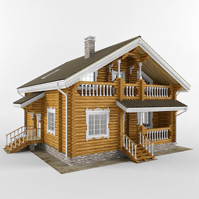 Log house in folk style