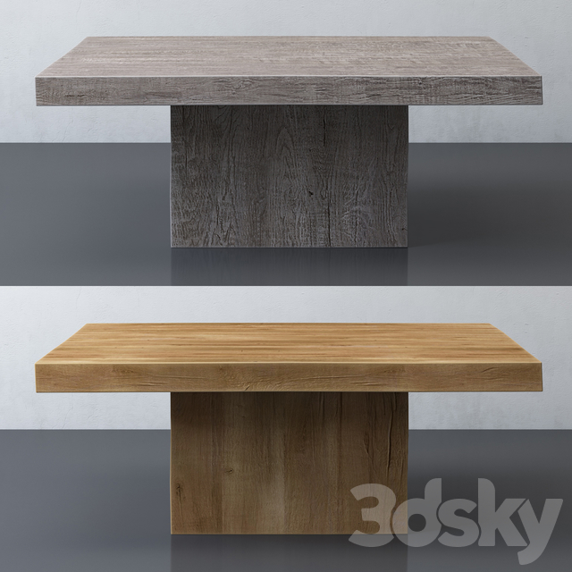 RECLAIMED RUSSIAN OAK PLINTH SQUARE COFFEE TABLE
