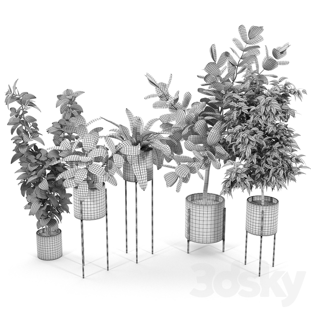 Dundee Light Gray Planters with Stands