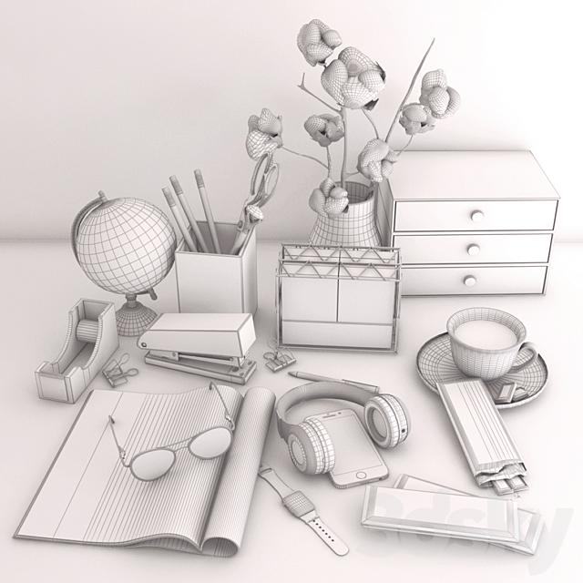 Desk Decor Set - Magazine, Globe, Headphones, Phone, Smart Watch, Study Set
