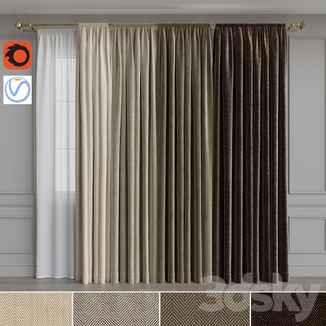 Set of curtains on the cornice 21. Beige gamut
