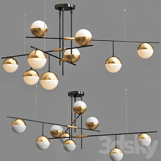 Chandelier Balls white & brass 9