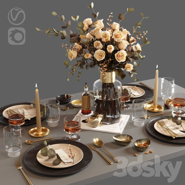 T ablesetting with roses