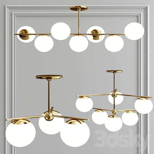 sphere + stem chandelier - brass