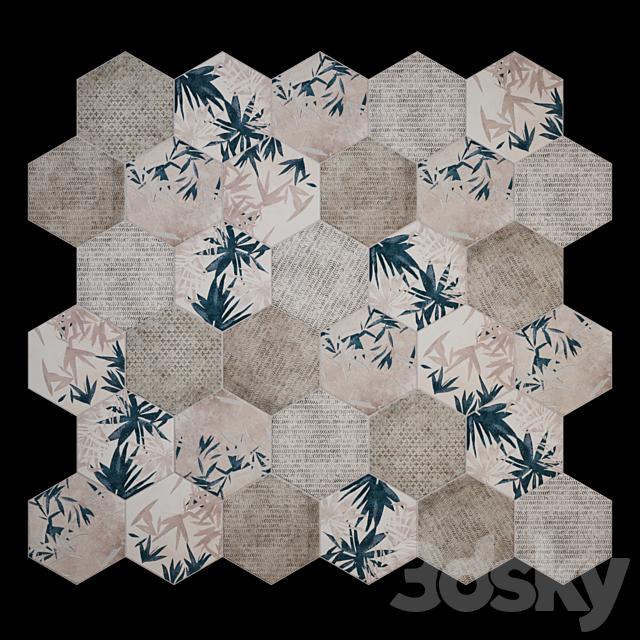 CIR Miami Esagona Florida Blue Tile Set