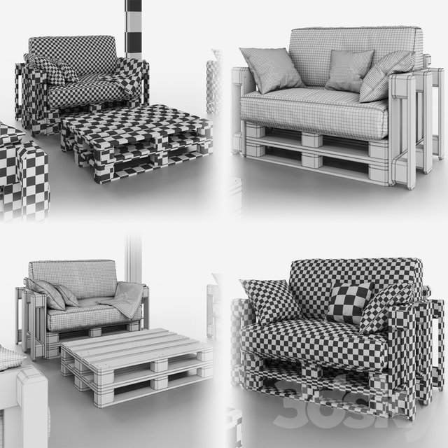 Canopy with garden furniture from pallets