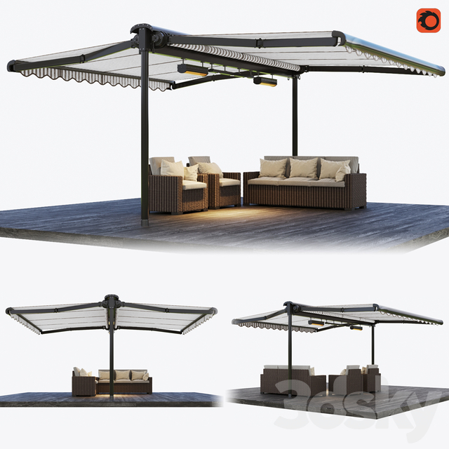 Double-sided cassette tent with rattan garden furniture