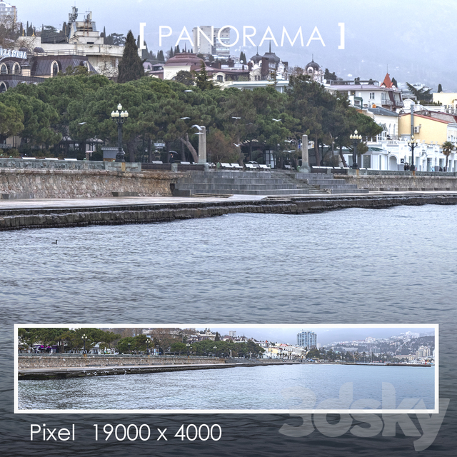 Set of panoramas of the promenade